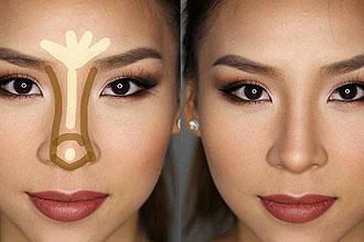 Как сделать нос уже с помощью макияжа